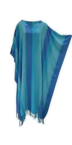Stripey Damen Kaftan Lang ethnische handgemachte Vibrant Große Frauen Coole Streifen (Blue  Blau) (Kaftan Streifen)