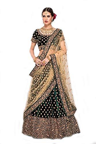 Indian Clothing Store Ekstra Creation Women's Satin Embroidered Lehenga Choli (Dark Green, Free Size)