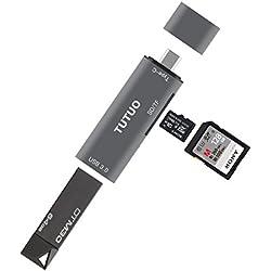 TUTUO USB C Lecteur de Cartes SD/Micro SD/TF, Adaptateur Type C vers USB-A 3.0 Connecteur OTG pour MacBook Pro 2017, Samsung Galaxy S10 Plus,Huawei P20 Mate 20 / P30 Pro, OnePlus 6 (Gris)