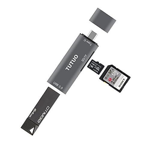 TUTUO USB C Kartenleser SD/ Micro SD (TF) Kartenlesegerät Type C zu USB 3.0 Adapter OTG Hub für MacBook Pro,Tablets,Google Chromebook Pixel,Huawei P10,Nexus5X / 6P,Typ-C Smartphones (Grau)