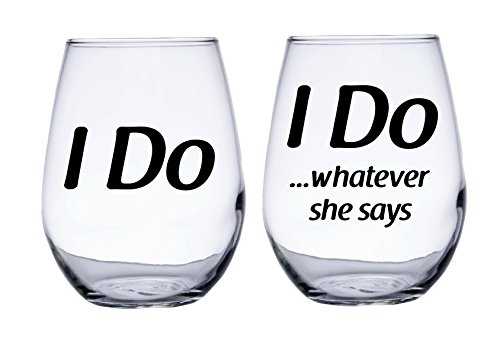 Ich tun, und ich tun, was Sie Sagt Hochzeit ohne Stiel Wein Gläser