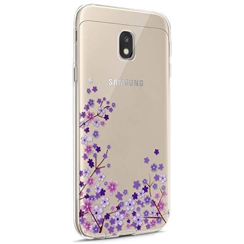 Galaxy J3 2017 J330 Funda,Funda Transparente Suave TPU Gel Ultra Fina Protección A Bordes Y Cámara Bumper Crystal Móvil Ultrafina Funda para Samsung Galaxy J3 2017 J330,Flor de Cerezo Morada