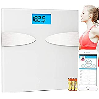 YEGU Body Fat Scales, Bluetooth Digital Bathroom Scales with IOS and Android App High Precision Body Composition Monitors for Body Weight, Body Fat, Water, Muscle Mass, BMI, BMR, Bone Mass,White