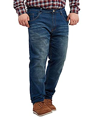 Menschwear Men's Big & Tall Jeans Relax Fit Stone Washed38-40 Stone Washed