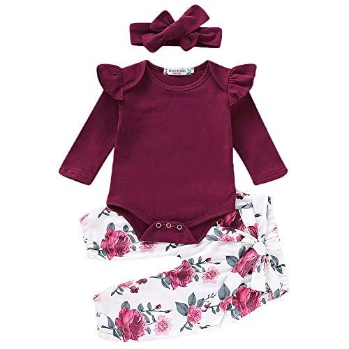 Neugeborenes Baby Lässige Kleidung Set Plissee Schulter Strampler Spielanzug + Floral Lange Hose + Stirnband 3 Stück Baby Outfits 0-18 Monate (6-12 Monate, Weinrot) -