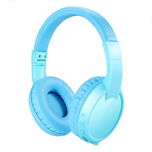 ICETEK Kinder Kopfhörer Bluetooth V5.0 Lautstärkebegrenzung 85 dB Kabellos Ergonomisch Eingebautes Mikrofon Freisprechfunktion (Blau, momentan ohne Sticker)