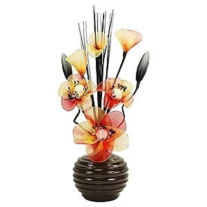 Flourish 813 - Vaso con fiori artificiali in nylon, 32 cm, colore: caffè/arancione