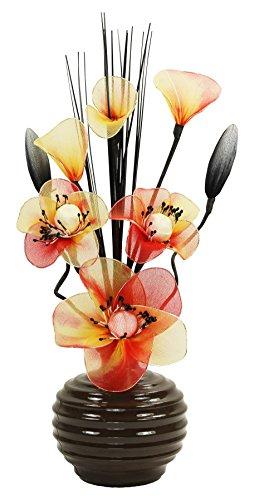 Flourish 813 - Jarrón con flores de nailon de color naranja (32...