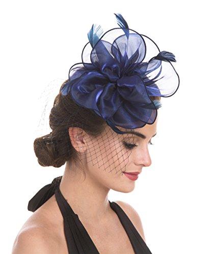 Fascinators Hut Cocktail Party Tee Kopfbedeckung Blume Mesh Organza Bänder Federn auf einem Stirnband und Gabel Clip für Mädchen und Damen (Floral Mesh Navy) (Navy Britische Hat Die Royal)