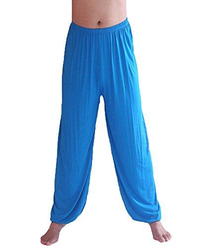 DianShao Herren Yogahose Super Weiches Pumphose Harem Pilates Hosen Trainingshose Freizeithose Blauer See XL - Herren-weiche Trainingshose