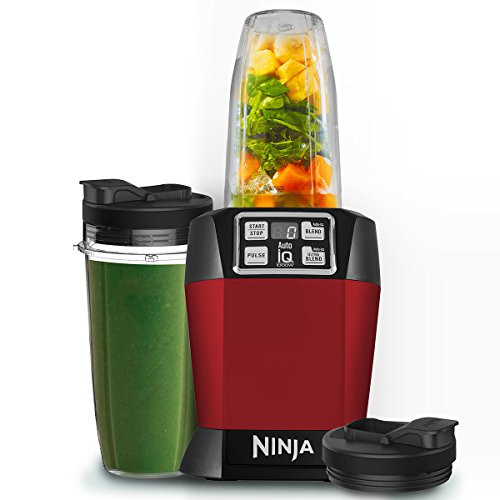 Ninja BL480UKMR Nutri 1000W Blender with Auto-iQ-BL480UKMR-Red, Red
