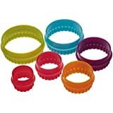 Kitchen Craft Colourworks Plastic Plain and Fluted Round Cookie Cutters - Set of 6