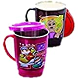 Pawan Plastic Cute Kids Fun Life Eco Stainless Stee Lplastic Insulated Tea Travel Mug/water Tumbler/tea/coffe Cup With Lid (set Of 2 Mug Or Cup)