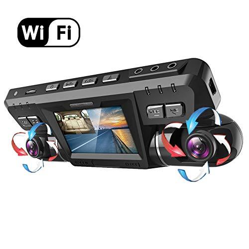 Dashcam,2160P UHD GPS WiFi Frente y Trasera Dobles 170 ° Gran Angular Cámara Coche grabadora con WDR Sony Vision Nocturna,ADAS,Grabación en Bucle,sensor de movimiento y G,P28WiFi,with128GbCard