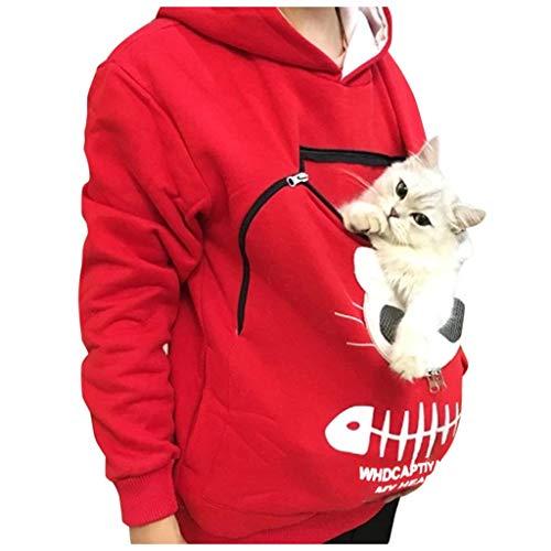 TIZUPI Hooded Women's Sweatshirt 2020 Neues Damen Sweatshirt mit Kapuze Oberteile Chic Cat Pullover Pocket Katzennest Atmungsaktive Bluse Spring