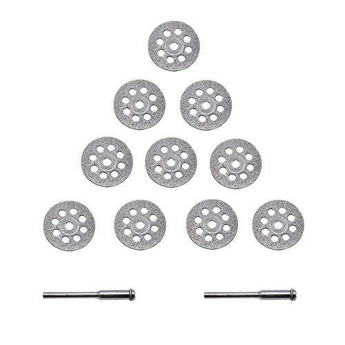 Xinlie Diamant Mini Trennscheibe Set Gelochte Trennscheiben für Dremel 22mm Diamant Schneidscheiben mit 2 Stücke Aufspanndorn Diamant Trennscheibe Satz Schneidscheiben Gelocht 22mm(12 Stück)