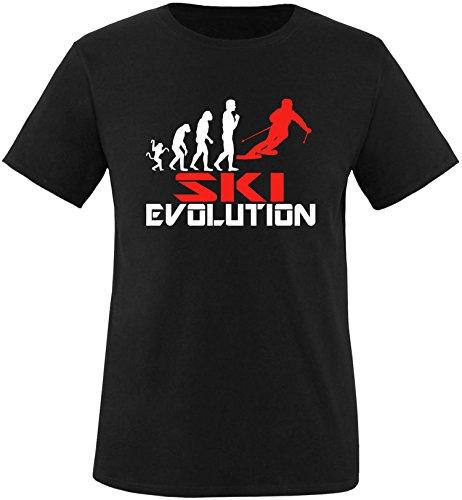 EZYshirt® Ski Evolution Herren Rundhals T-Shirt Schwarz/Weiss/Rot
