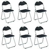 Haku Möbel Set di 6 sedie Pieghevoli, Metallo, Alluminio/Nero, 44x47x80