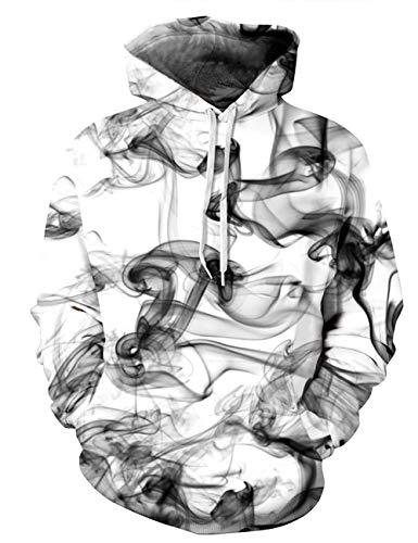AIDEAONE Men Women White Hoodies Smoke Print Jumper Sweatshirt -