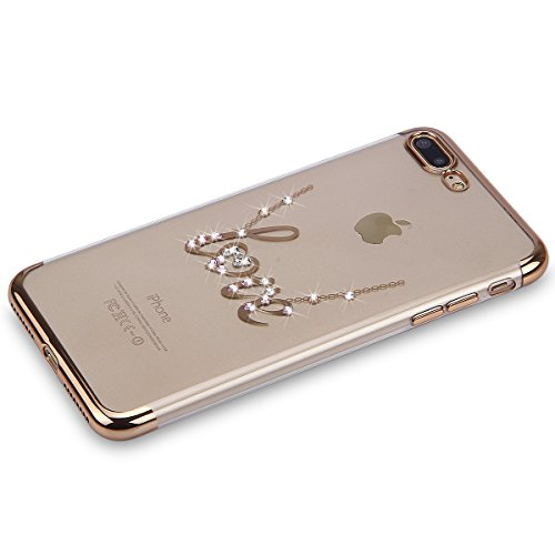 iPhone 7 Strass Hülle,iPhone 7 Handyhülle,JAWSEU Luxus Cool Kreative Shiny Sparkle Pfau Feder Muster Gold Plating Crystal Klar Silikon Bling Glitzer Shiny Bumper Case Schutzhülle Diamant Strass Weich  Gold,Love
