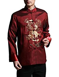 Veste Col Mao Rouge Homme Chemise Soie Blazer Kung Fu Tai Chi Mariage  Dragon  101 9f21b75b5d0