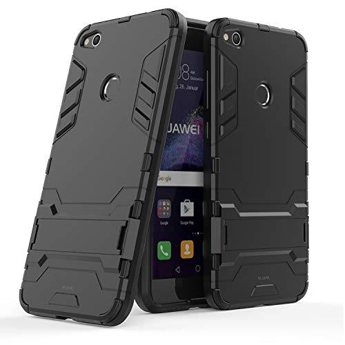WLDDWL Coque Huawei P8 Lite 2017,Antichoc Mince Légère TPU PC Housse de Protection Anti Rayure Étui Protecteur avec Support pour Huawei P8 Lite 2017 (Noir)