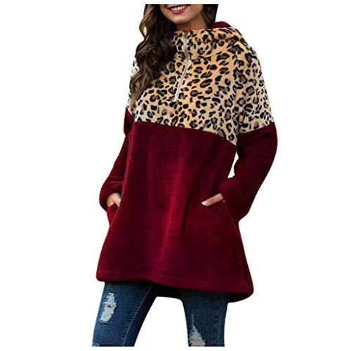 Kolila Damen Oberbekleidung Kapuzenpullover Lässige Fleece Flauschig Plüsch Hoodie Jacke Mantel Lose Langarm Leopardenmuster Patchwork 1/3 Reißverschluss Bluse Sweatshirt Tunika