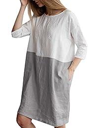 99aca047c7c7 QinMM Femme Robes Chic Bateau Élégant Été Couleur de Couture, Slim Grande  Taille Lâche Coton et Lin Mode à Demi-manchs Chemises…
