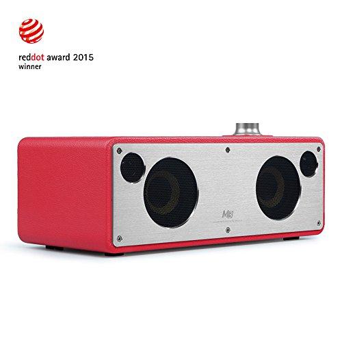 GGMM M3 Airplay Lautsprecher Wi-Fi/ Bluetooth Lautsprecher Multiroom Lautsprecher 2.0 Stereomusiksystem, 40W-Leistung Mit 2xpassiven Radiatoren, Kevlar Lautsprecher Und APT-X Technologie, Retro Design Mit Lederbezug, Kompatibel Mit Airplay, DLNA, Spotify, iHeartRadio (Rot)