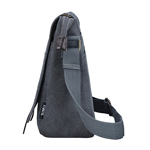 Super moderno da uomo, in tela, borsa a tracolla messenger bag laptop computer bag Satchel bag Bookbag School bag, borsa a tracolla, Uomo, Black Large Grey Large