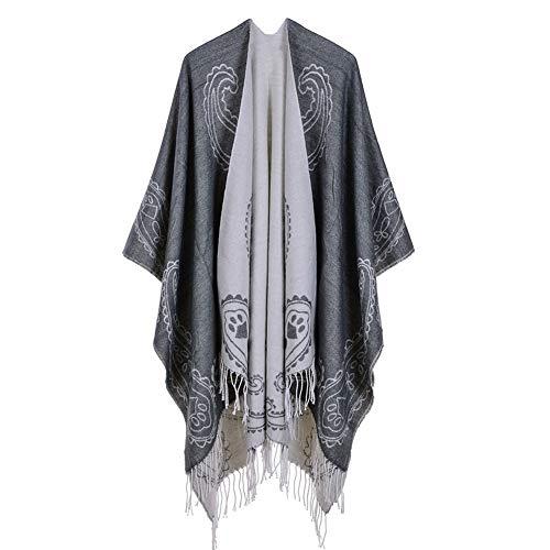 Schal Damen Herbst und Winter nachgemachte Kaschmir-Schal mit Fransen Cashew Blume Klassische Ethnic Wind Schal Reversible Umhang -Geschenke für Damen (Color : Grey, Size : 130 * 150cm) -