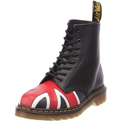 Dr. Martens Union Jack 8 Eye Boot, Boots mixte adulte - Noir (Black Smooth), 36 EU (3 UK)