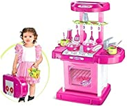Popsugar - TH008-58 Luxurious Kitchen Play Set with Accessories, Light and Music Toy for Kids, Pink