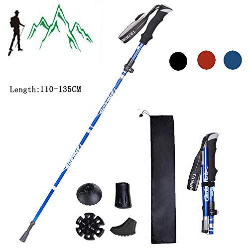 XDSP Bastoni Trekking Bastoncini da Trekking Pieghevoli, Anti-Shock, Lunghezza Regolabile,...