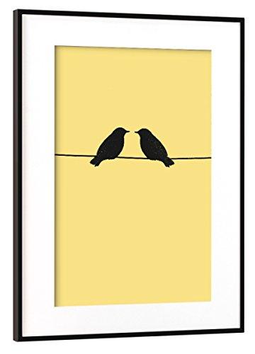2 Gerahmte Vogel-prints (artboxONE Poster mit Rahmen Schwarz (Metallic) 60x40 cm