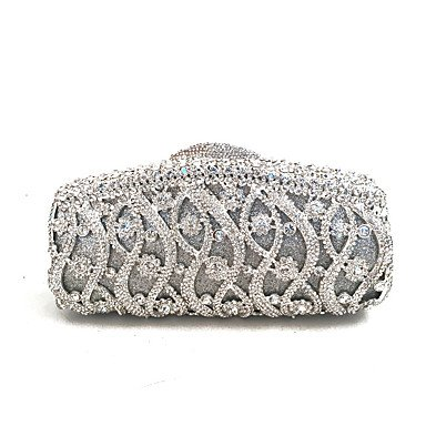 Heart&M Abendtasche PU Metall Ohne Reißverschluss Gold Silber Silver