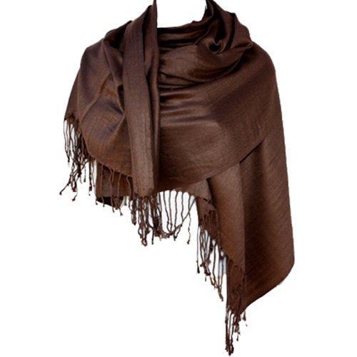 Nepal Massiv Zwei Lagen warme weiche Pashmina Schal-Schal-Verpackung von Silber Fever® Marke Mehrfarbig - Dunkelbraun