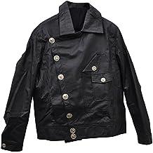 Zoelibat 24006390.008L Herren Lederjacke im Biker Stil mit, Großen silberfarbenen Knöpfen, kurz, Groß L, schwarz