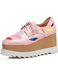 KJJDE Zapatos con Plataforma Mujeres WSXY-Q1620 Mary Jane Zapatos Mujer Moda Tiras Cruzadas Loafers Casual, Pink,38