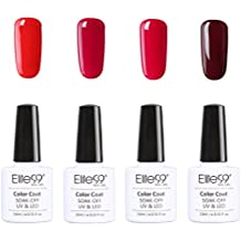 Elite99 Uñas de Gel Serie de Color Rojo Vino 4 pcs Esmalte Semipermanente Shellac Laca Soak Off Top Coat Base Coat UV LED Manicura Arte 10ml