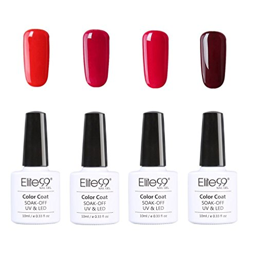 Elite99 Uñas Gel Serie Color Rojo Vino 4 pcs Esmalte