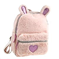 Girls Pink 3D Bunny Rabbit Ears Plush Backpack Rucksack School Bag