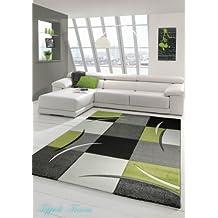 Sala de estar diseñador Alfombra Alfombra contemporánea, alfombras de pelo bajo con el patrón de contorno de corte de diamante Verde Gris Blanco Negro