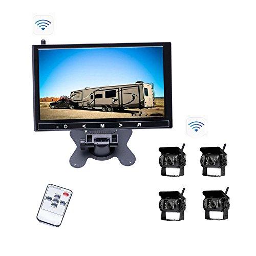Camecho 9 Zoll HD Monitor 4 Wireless Rückfahrkamera 18 IR Fahrzeug Backup System Nachtsicht Wasserdicht Eingebaute Wireless Signal Chips für Anhänger / Truck / RV / Motor Home / 5th Wheels (Wireless-rückfahrkamera-system)