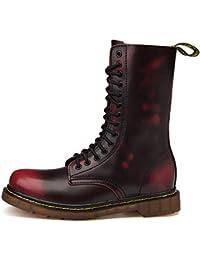TQGOLD Botte Femme Hiver Homme Bottes de Combat Bottines en Cuir Plates Fourrées  Boots Chaussures Lacets e316333cff16