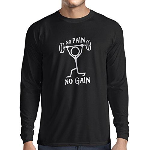 Camiseta de Manga Larga para Hombre No Pain No Gain - ropa para el uso diario - fitness, crossfit, gimnasio - citas de deportes de motivación (XX-Large Negro Blanco)