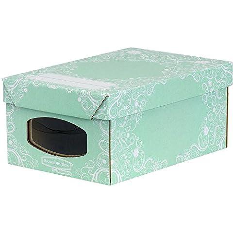 Bankers Box 4481001 - Pack de 4 cajas de cartón multiusos, 34 x 15 x 23 cm, con ventana frontal, color verde y blanco