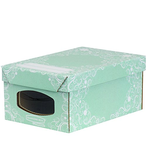 Bankers Box 4481001, Scatola porta scarpe, serie Style, Verde (grün/weiß), Misura piccola, 4 pz.