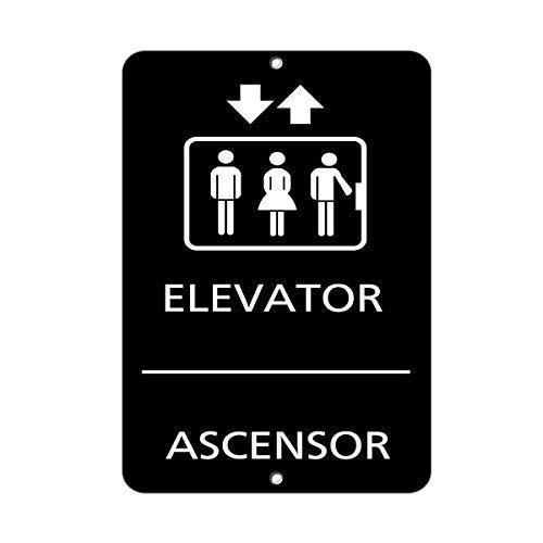 DKISEE Aluminum Plaque Elevator Ascensor Ada Sign Ada Bilingual Signs Durable Rust Proof Aluminum Sign Warning Sign Aluminum Metal Sign 8