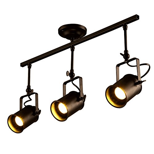 Industrial track lights amazon frideko retro style 3 socket industrial spot light ceiling pendant lamp for cafe bar dining room restaurant black mozeypictures Image collections